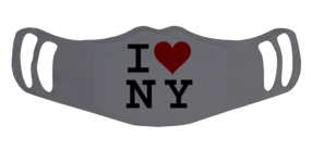 A washable and reusable gray polyester I love NY printed cloth face mask with two ear holes by each side